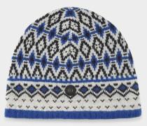 Strickmütze Junia für Damen - Blau/Weiß/Schwarz Strickmütze