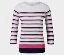 Longsleeve Jaime für Damen - Off-White/Blau/Pink gesteift