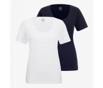 Doppelpack T-Shirt Twinny für Damen - Navy blue/White T-Shirt