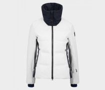 Ski-Daunenjacke Pattie für Damen - Weiß/Navy-Blau