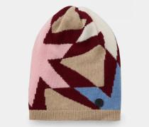 Strickmütze Aurelia für Damen - Camel/Bordeauxviolett