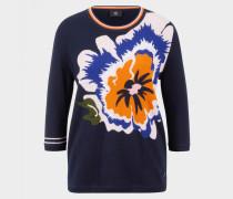 Strickpullover Sara für Damen - Blau/Orange/Weiß Strickpullover