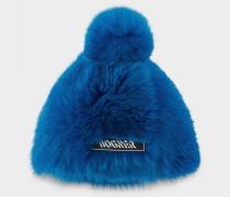 Fellmütze Sabia für Damen - Azurblau Fellmütze