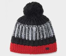 Strickmütze Yanika für Damen - Schwarz/Rot/weiß Strickmütze