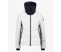 Ski-Daunenjacke Pattie für Woman - Weiß/Navy-Blau
