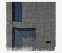 Schurwoll-Mix-Schal für Man - Grau/Navy-Blau
