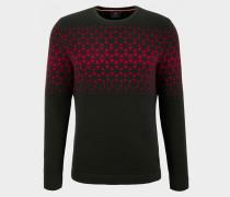 Pullover Alois für Herren - Dunkelgrün/Rot Pullover