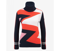 Pullover Alva für Damen - Navy blue/Red-Orange/Off-white Pullover