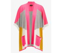 Schurwoll-Poncho Lele für Damen - Pink/Husky-Grau/Gelb Schurwoll-Poncho