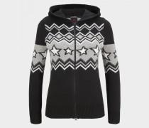 Strickjacke Jana für Damen - Schwarz/Grau/Weiß Strickjacke
