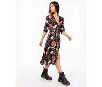Damen Kleid Jola mehrfarbig (flowers on black)