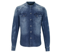 Herren Jeanshemd Freddy 6866 stone wash blau (mid blue)