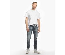 Herren Destroyed Jeans Billy the kid 9943 patched blau (mid blue)