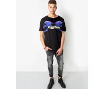 Herren Print T-Shirt Mirror Glitch Logo MSN schwarz (black)