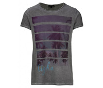 Herren Print T-Shirt Scattered Palms MSN grau (vintage grey)