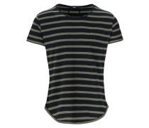 Herren T-Shirt Leno stripes grün (military green/black)