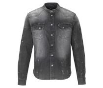 Herren Jeanshemd Freddy 6965 patched schwarz (vintage black)