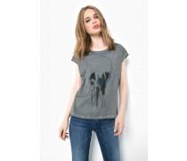 Print Shirt Melted Skull WSN grau
