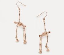 Skeleton Earrings Pink Gold Tone