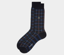 Tartan Check Socks Navy