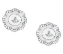 Fiorella Stud Earrings Silver Tone/White Enamel
