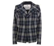Wilma Jacket Cream On Navy Tartan