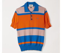 New Polo Knit Bluette/Pink/Orange Stripes