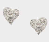 Tiny Diamante Heart Stud Earrings Silver