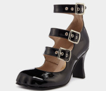 Animal Toe 3 Strap Black Patent