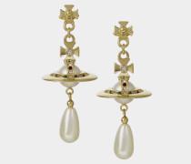 Pearl Drop Earrings Gold Tone