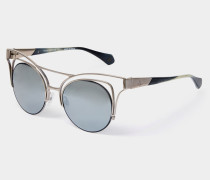 Cut Out Cat-Eye Sunglasses Gunmetal Gold