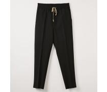 Elastic Cropped George Trousers Black