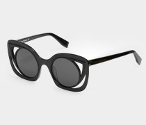 Bold Cut-Out Frame Sunglasses Matte Black