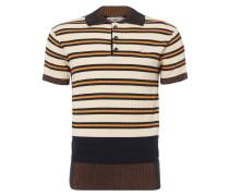 Ribbed Knit Polo Shirt Cream/Stripe