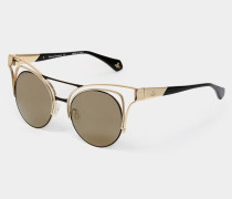 Cut Out Cat-Eye Sunglasses Gold/Black