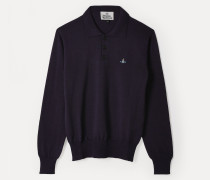 Long Sleeve Polo Knit Purple Melange