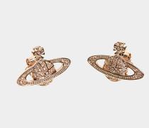 Mini Bas Relief Earrings Pink Golden Tone