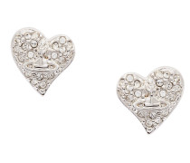 Tiny Diamante Heart Stud Earrings Silver