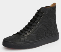 Suede High Top Trainer Black/Squiggle Print