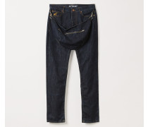 Classic Tapered Harris Jeans With Bum Bag Blue