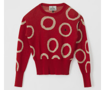 Classic Knit Sweater Pinocchio Print Red