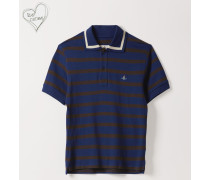 New Polo Short Sleeve Blue/Brown Stripes