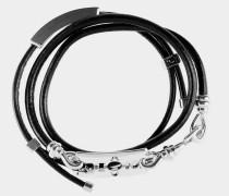 Blade Leather Cord Bracelet Silver Tone
