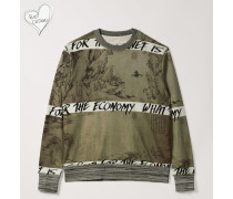 Roundneck Sweater Chinese Drawing Print