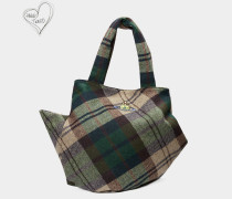 Tintwistle Tote Bag Green Tartan