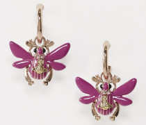 Scarab Drop Earrings Pink Gold Tone