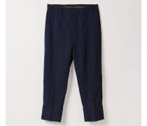 George Cropped Trousers Navy Jacquard