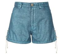 Heart Shorts Laminated Denim