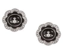 Fiorella Stud Earrings Silver Tone/Black Enamel