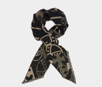 Abstract Orb Scarf Black